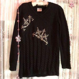 ✨Hanna Andersson black snow flake sweater dress